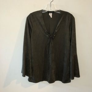 Blvd Army Olive Green Flare-Sleeved Top Med